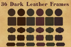 36 Dark Leather Frame Tags