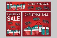 Christmas sale, web banners. Vector.
