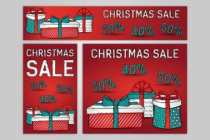 Christmas sale, web banners. Vector.