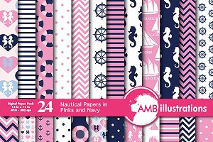Nautical digital papers AMB-116