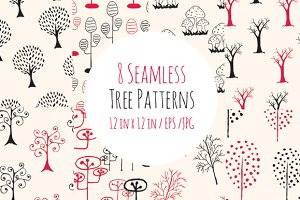 Seamless Black and Red Tree Patterns