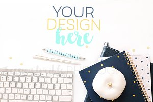 Navy Planner + Keyboard Styled Photo