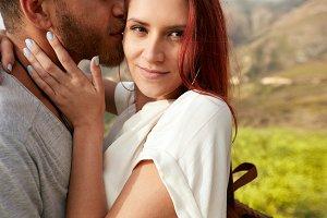 young woman hugging her boyfriend