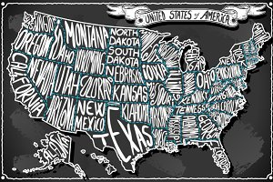 USA Map on Vintage Blackboard
