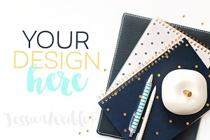 Navy + Gold Planners Styled Photo