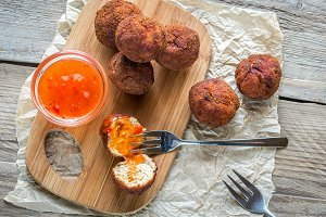 Chicken meatballs with thai sause