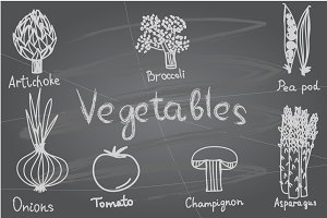 Tasty vegetables on chalkboard