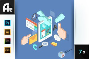 Isometric Tablet Mobile Services Con