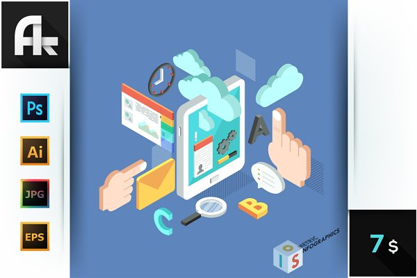 Isometric Tablet Mobile Services Co…