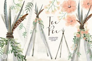 Watercolor tee pee, bohemian wedding