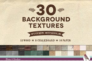 30 Wood Paper Chalk Texture Bundle