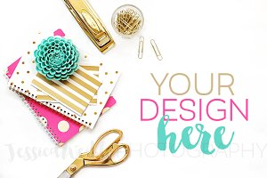Pink, Gold + Teal Stationery Photo