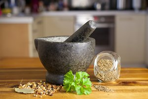 Stone grinder and spices