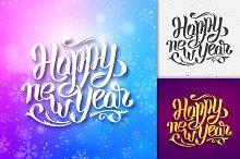 Happy New Year typographic greetings
