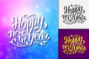 Happy New Year typographic greetings