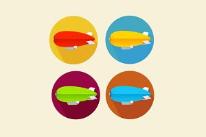 Dirigible Balloon Flat Icon Set.