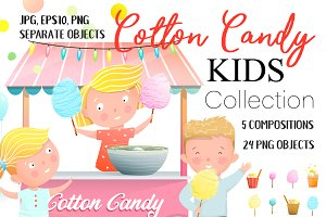 Kids at Cotton Candy Stall & Sweets