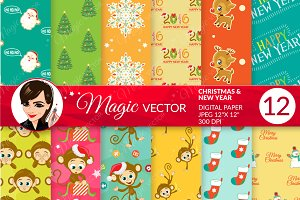 Christmas & New Year digital paper