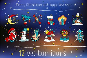 Christmas and New Year vector icons