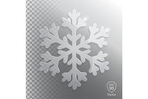 Glass transparent snowflake. Vector.