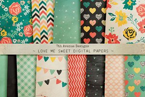 Love Me Sweet Digital Papers
