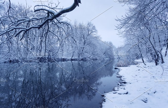 Winter landscape. River in fores - Nature