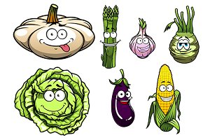 Cartooned squash, asparagus, garlic,