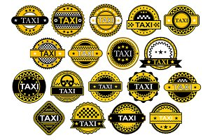Taxi labels in retro style
