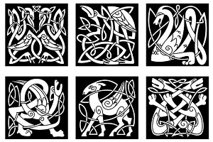 Celtic style animals on black backgr