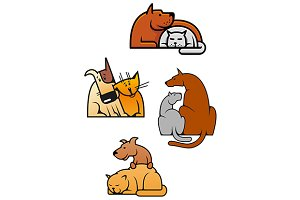 Cartooned friends cat and dog