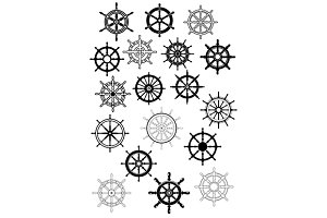 Ship wheel in retro style icon set