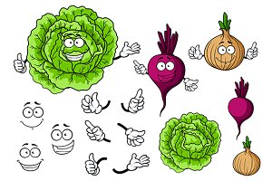 Cute cartoon cabbage, beet, onion ve