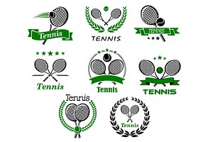 Tennis emblems, symbols and icons