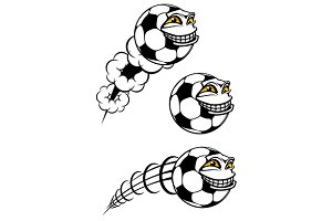 Flying cartooned soccer or football