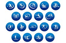 Athletics and team sport icons or sy