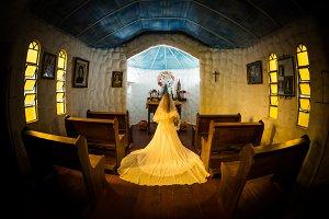bride on a little church