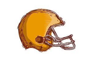 American Football Helmet Drawing