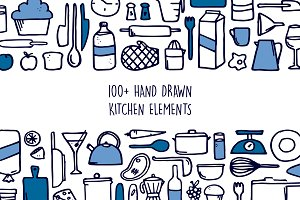 100+ Hand Drawn Kitchen Elements