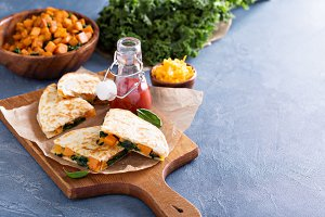 Quesadillas with cheddar and kale