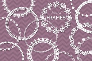 12 Round Lace Frames Clip Art III