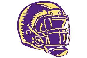 American Football Helmet Woodcut
