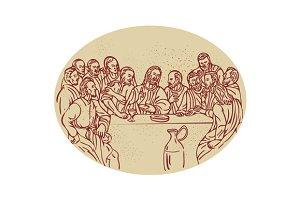 Last Supper Jesus Apostles Drawing