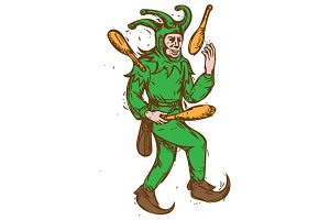 Medieval Jester Juggling Wooden Pins
