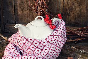 Autumn still life with white teapot