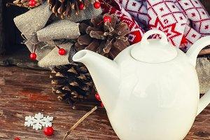 Autumn still life with white teapot