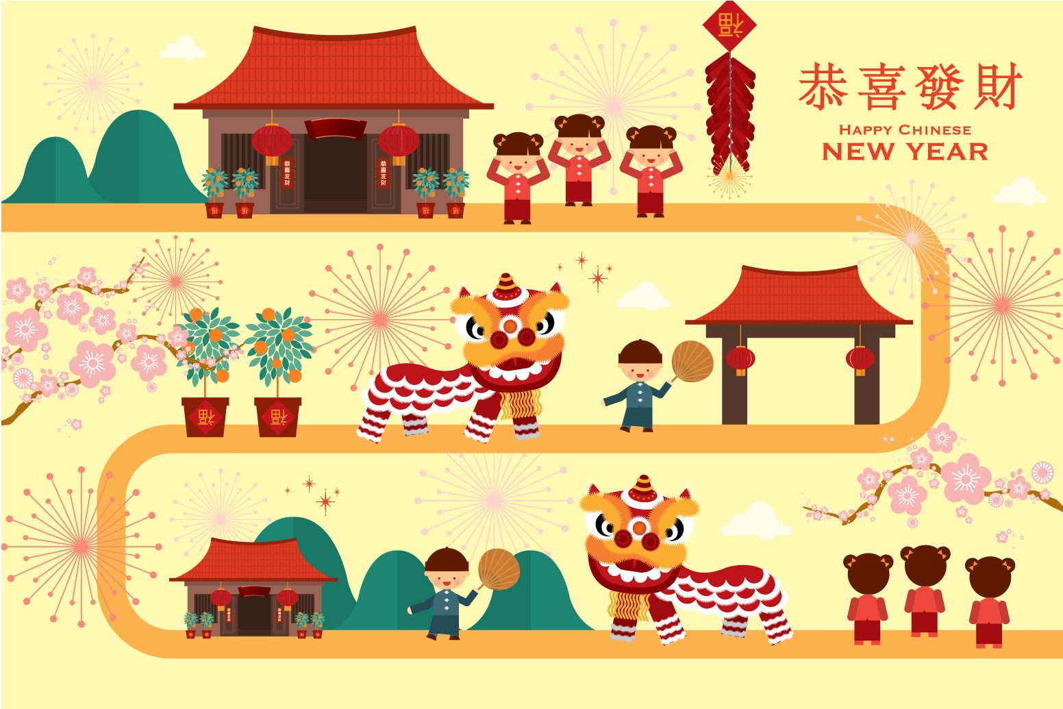 Chinese Calendar Illustration : Chinese lunar new year vector illustrations creative
