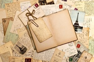 Old letters, postcards, travel book