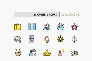 Lines Icons Sea Cruise and Tour
