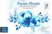 Frozen Florals. Watercolor set
