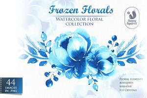 Frozen Florals. Watercolor set